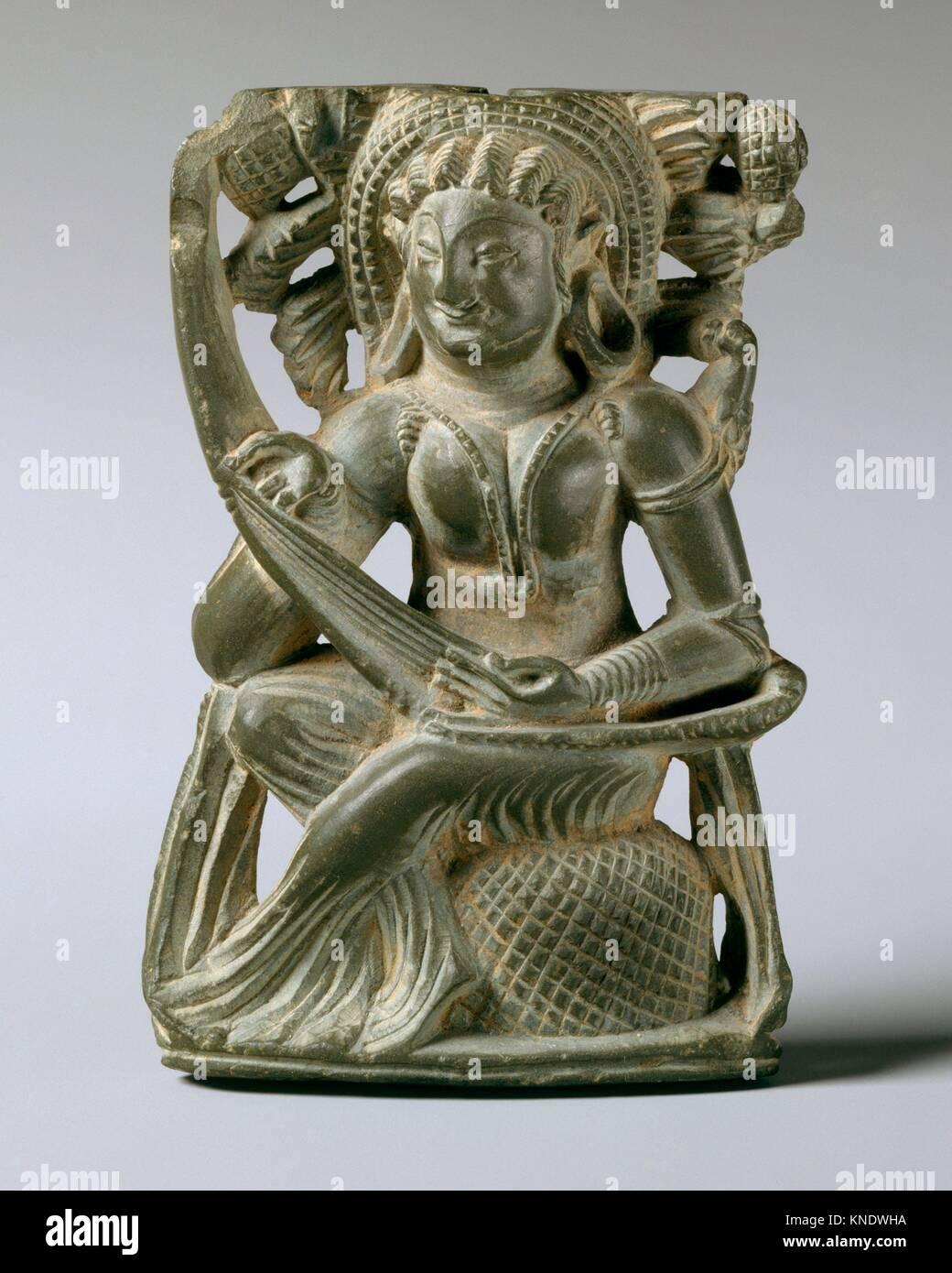 Spiegel Griff mit einer Frau Spielen der Laute. Datum: 6. bis 7. Jahrhundert; Kultur: Indien (Jammu und Kashmir, Stockbild
