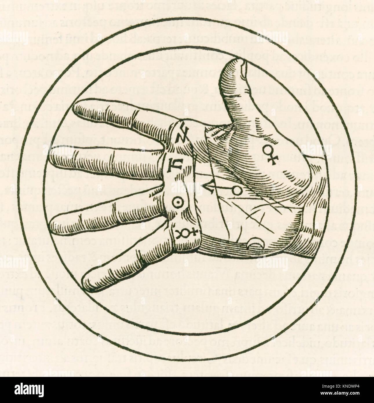 """""""Die Hand der Handlesekunst"""" Gravur von Heinrich Cornelius Agrippa von Nettesheim (1486-1535) 'De Stockbild"""