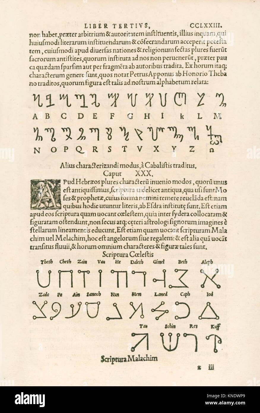 Thebanische Alphabet (Honorian Alphabet oder die Runen von Honorius) und himmlische Alphabet (Scriptura Malachim Stockbild