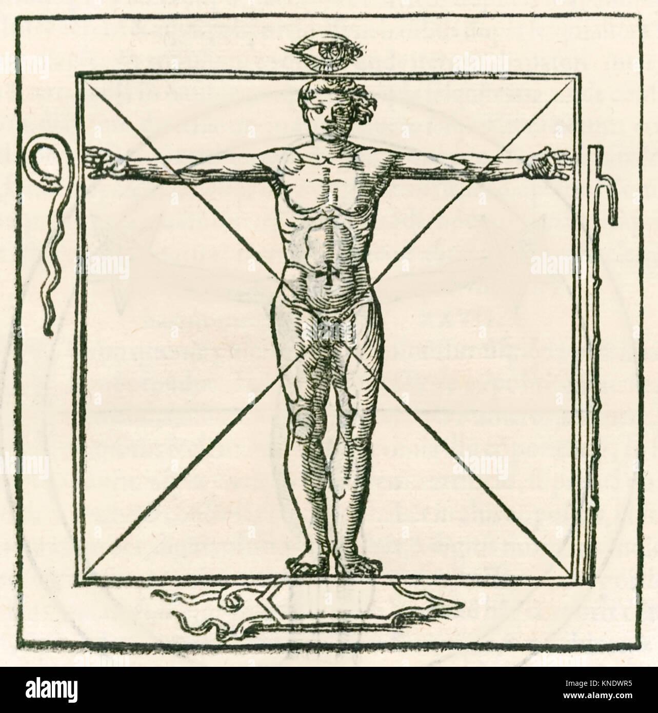 Mann in einem Quadrat durch Symbole des Auges, Schlange umgeben, sieben Kapitel Personal und Schild. Gravur von Stockbild