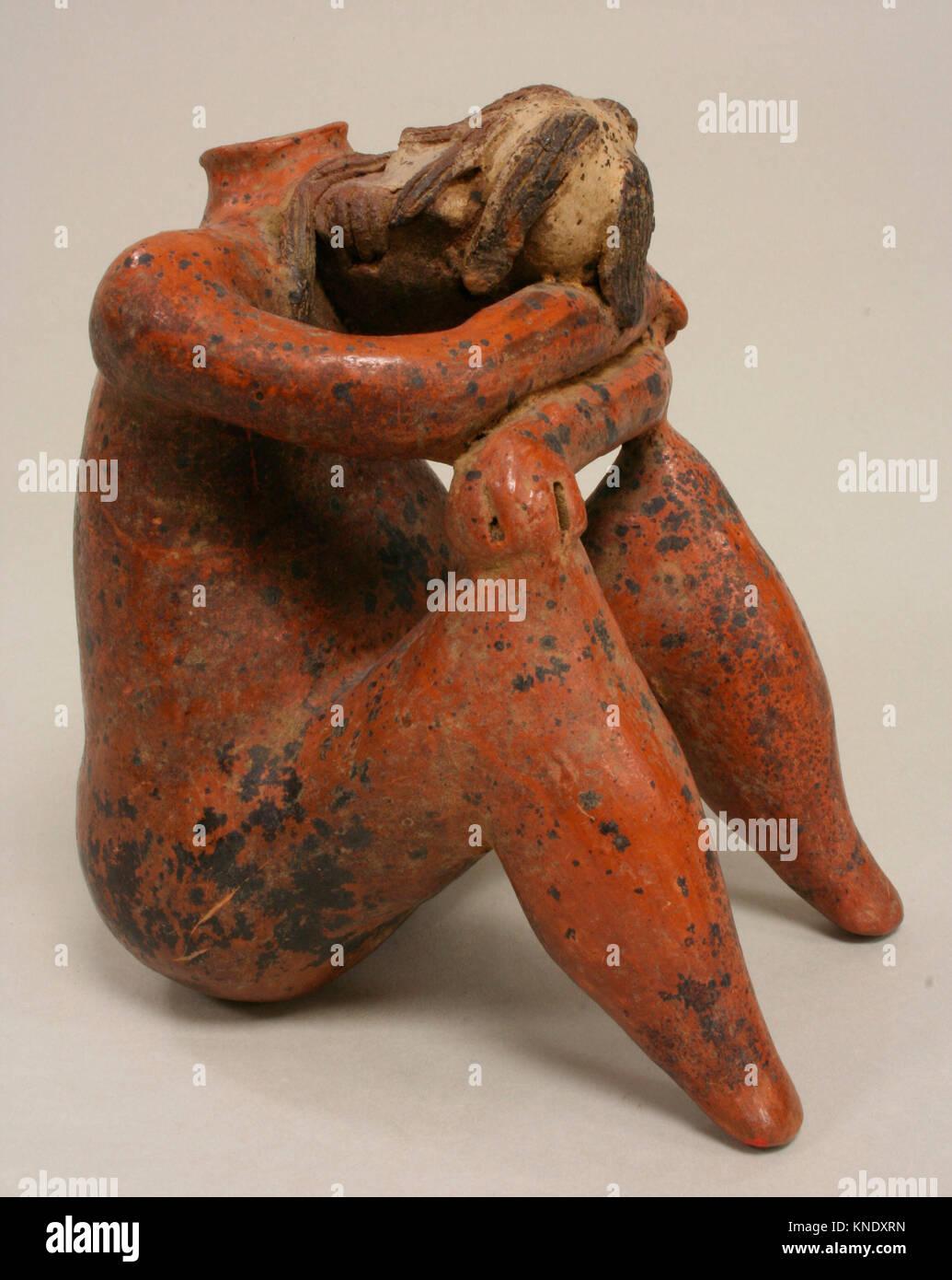 Trauer Abbildung Schiff. Datum: 2.Jahrhundert v. Chr. - A.D. 2.Jahrhundert; Geographie: Mexiko, Mesoamerika, Nayarit; Stockbild