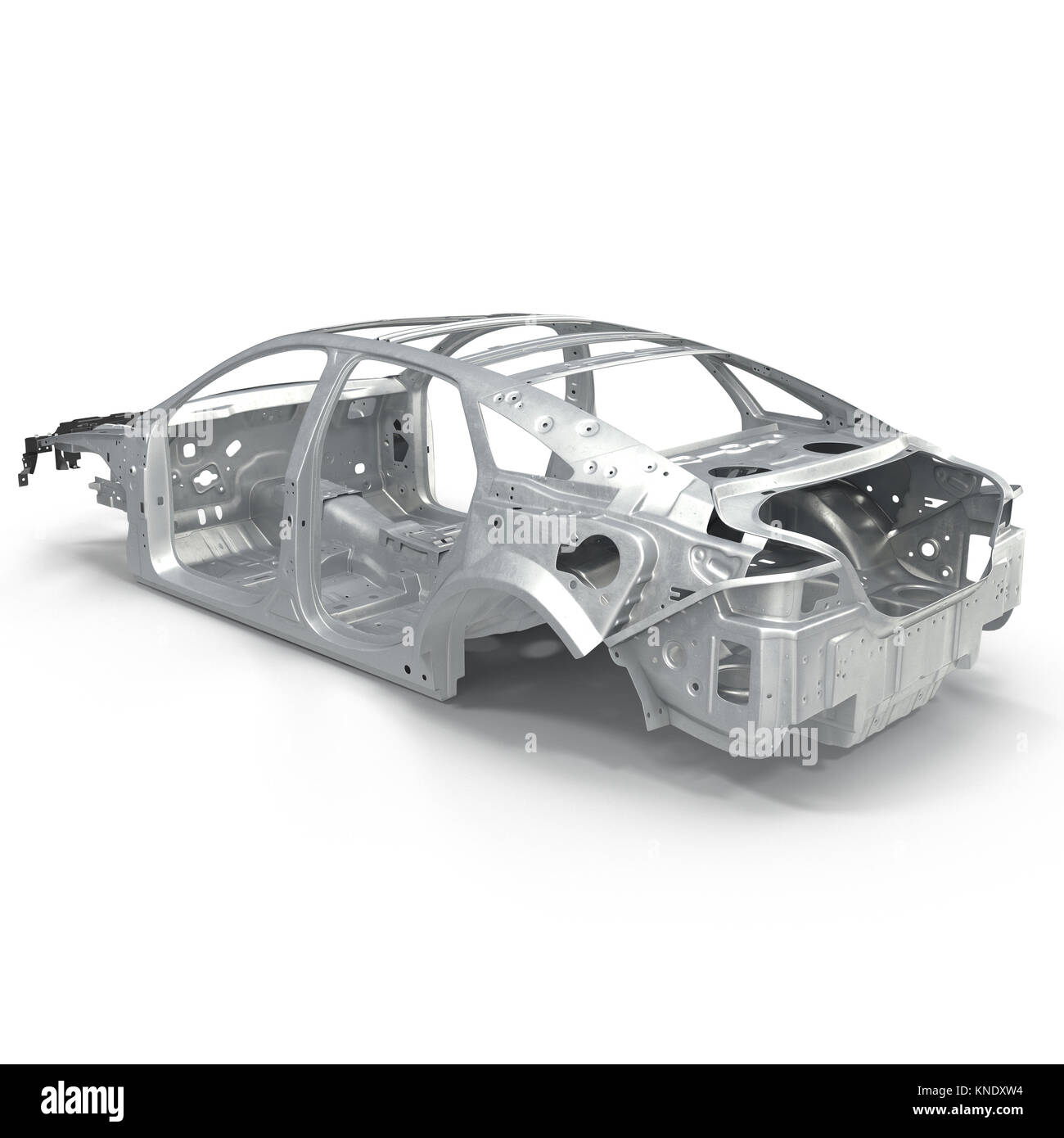 Auto Rahmen ohne Fahrgestell auf Weiß. 3D-Darstellung Stockfoto ...