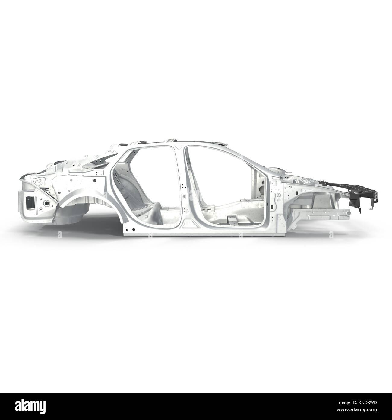 Seitenansicht Auto Rahmen ohne Fahrgestell auf Weiß. 3D-Darstellung ...