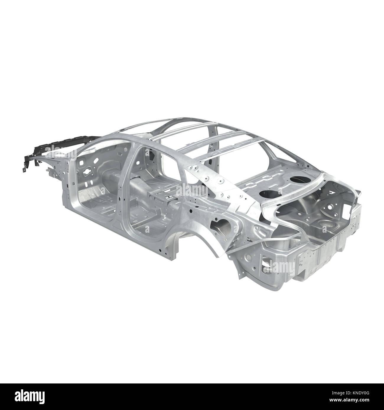 Auto Rahmen ohne Fahrgestell auf Weiß. Winkel aus. 3D-Darstellung ...