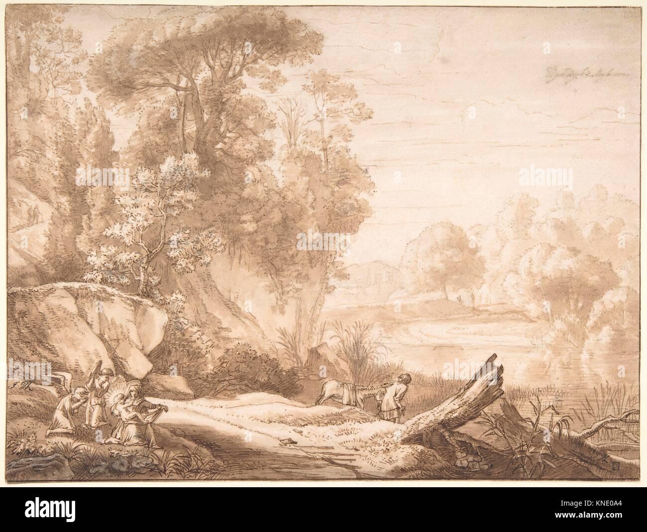 Die Ruhe auf der Flucht nach Ägypten. Artist: Herman van Swanevelt (Niederländisch, Woerden (?) Ca. 1603 Stockbild