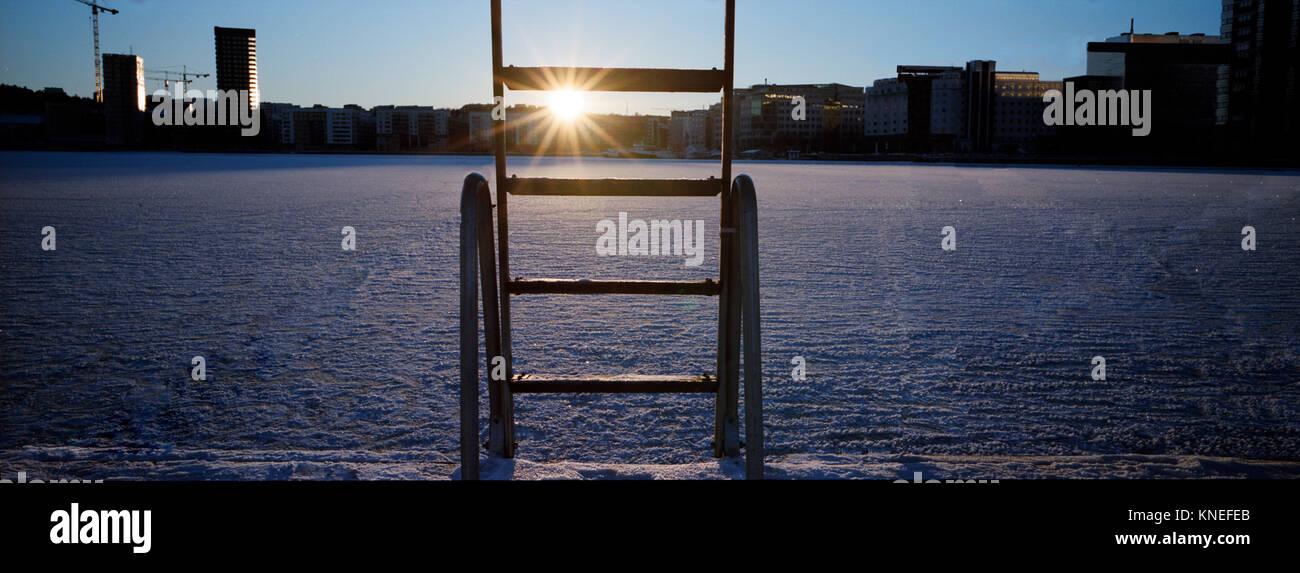 Gefrorenen See im Winter, Stockholm, Schweden Stockbild