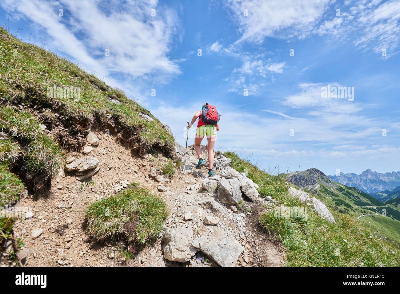 Ansicht der Rückseite des weiblichen Wanderer bis Wandern Tannheimer Berge, Tirol, Österreich Stockbild