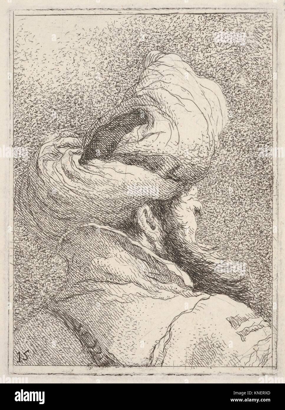 Der bärtige Mann mit dem Turban, in Büste Länge dargestellt von hinten in drei Viertel, aus der Serie Stockbild