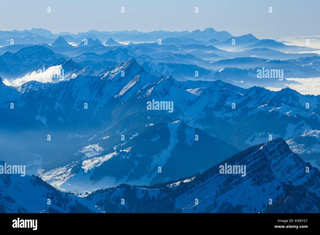 Viem vom Säntis, Appenzell, Schweiz. Stockbild