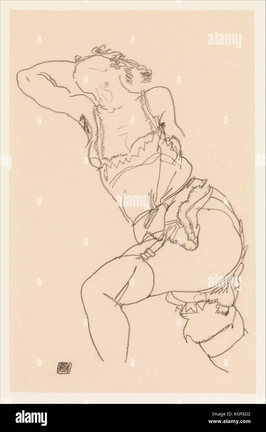 Liegesitz Modell in Hemd und Strümpfe. Künstler: Egon Schiele (Österreichische, Tulln 1890-1918 Wien); Stockbild