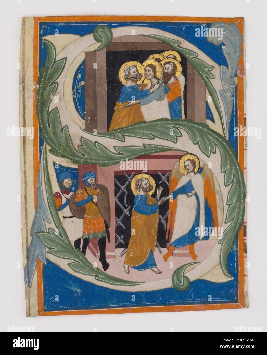 Erste S mit dem Hl. Petrus aus dem Gefängnis befreit. Datum: Erste Hälfte 14. Jahrhundert; Geographie: Stockbild
