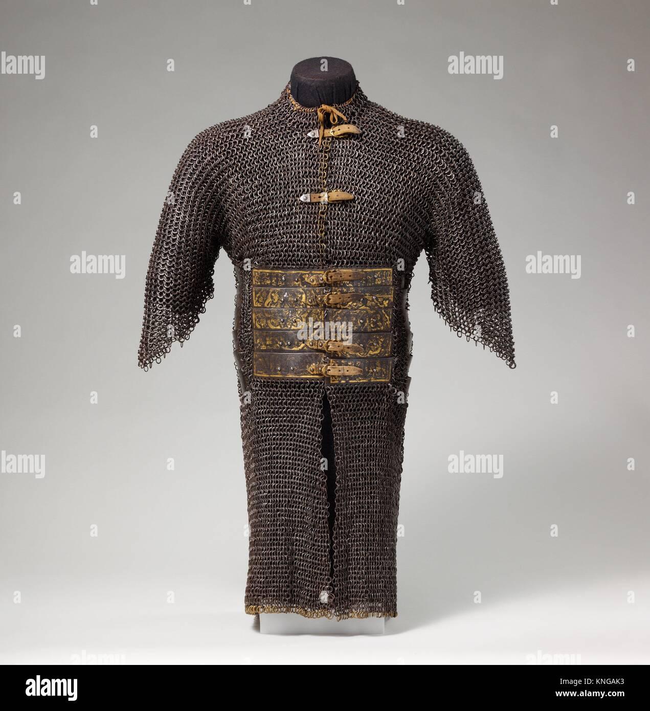 T-Shirt von Mail und Platte. Datum: 15.-16. Jahrhundert; Kultur: Iranischer oder Türkisch; Medium: Stahl, Eisen, Stockbild