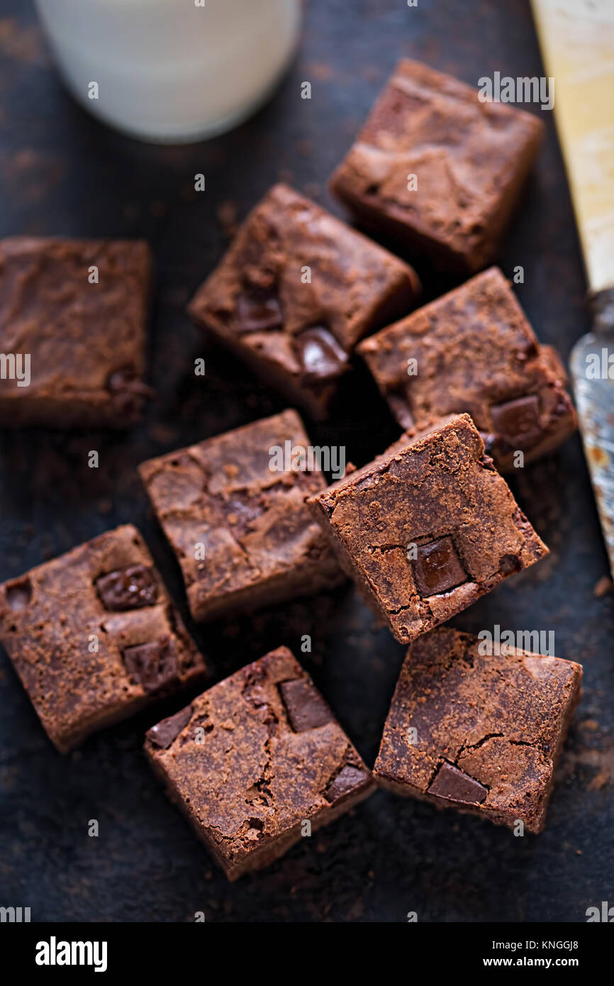 Chocolate Chip brownies Stockfoto