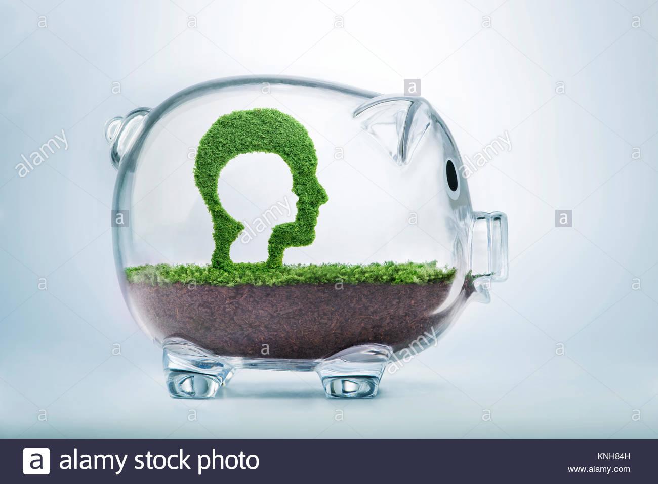 Sorgfalt, Engagement und Investitionen sind während der Kindheit. Gras wächst in der Form eines Ausschneiden Stockbild