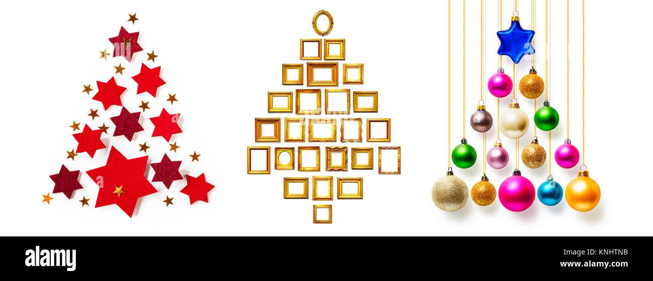 Weihnachtsbaum der bunten Christbaumkugeln, rote Sterne und goldenen ...