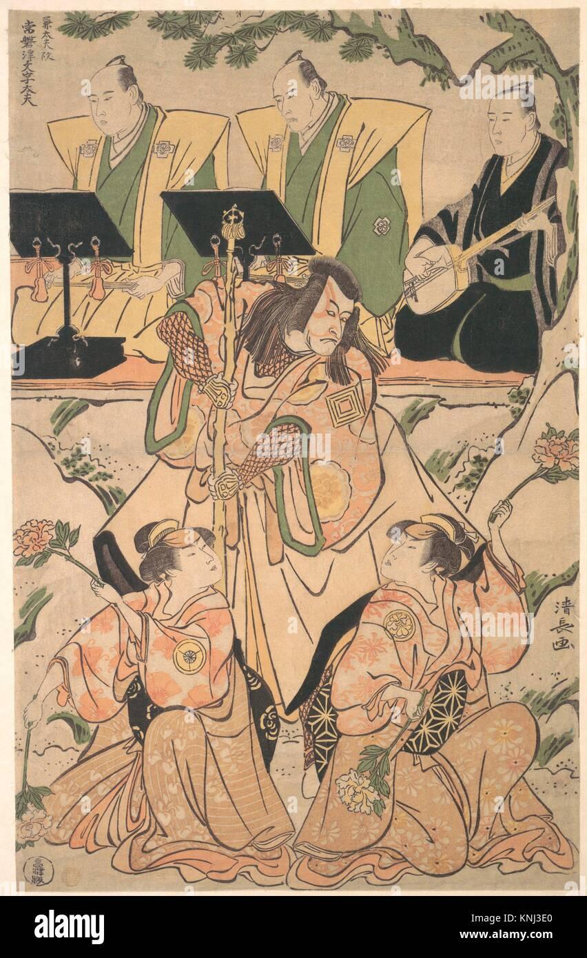 Akteure in einem Shosa (Kombination von Schauspiel und Tanz) Leistung. Artist: Torii Kiyonaga (Japanisch, 1752-1815); Stockbild