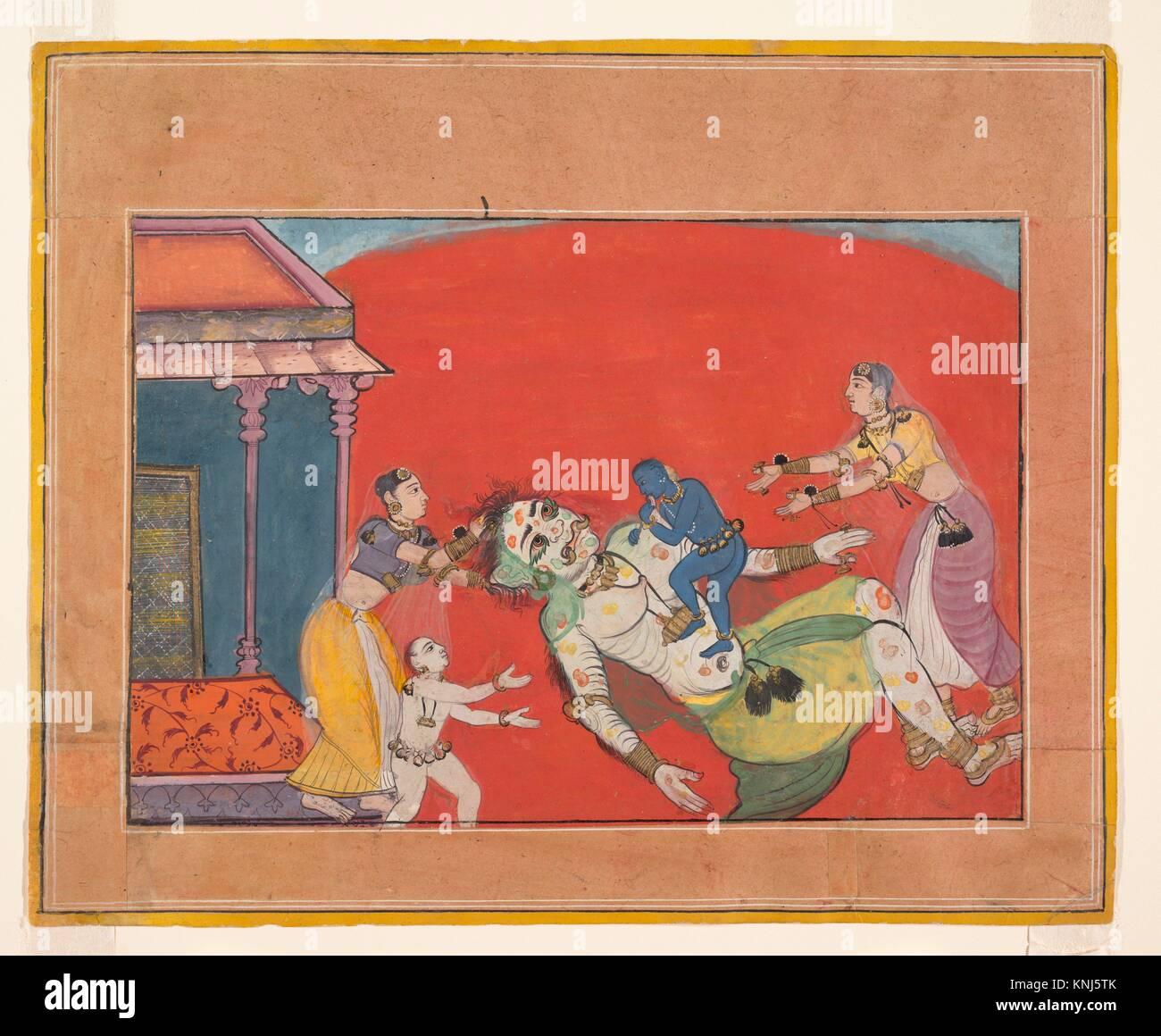 Der Tod der Dämonin Putana: Folio aus einem Bhagavata Purana Serie. Datum: Ca. 1610; Kultur: Indien, Rajasthan, Stockbild