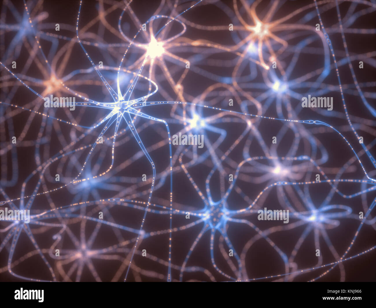 3D Darstellung der vernetzten Neuronen mit elektrischen Impulsen. Stockbild