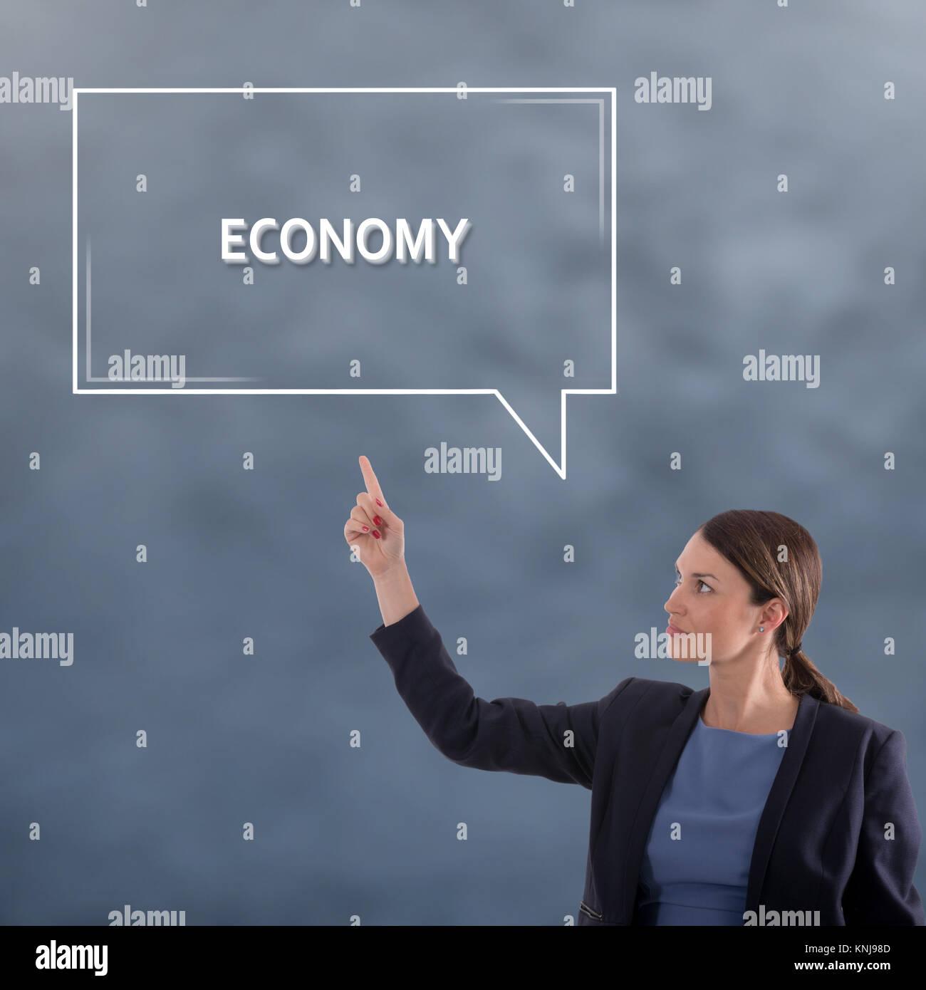 ECONOMY Business Konzept. Business Woman grafisches Konzept Stockbild