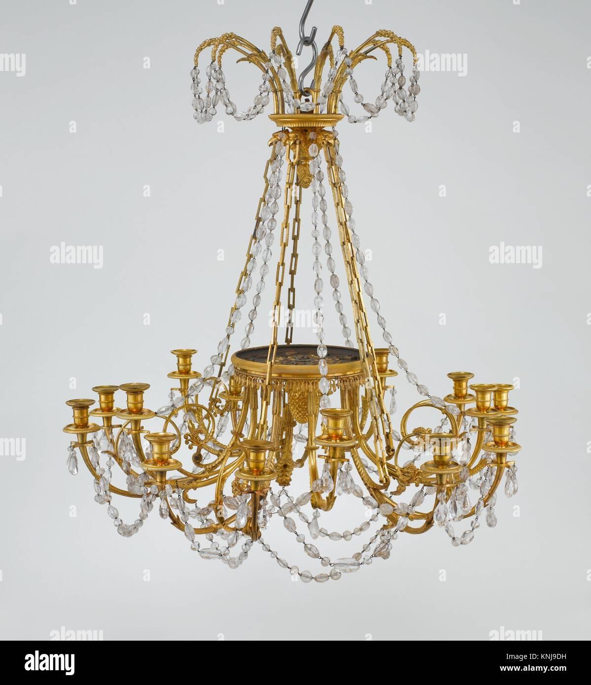Charmant 15   Licht Kronleuchter. Datum: Ca. 1785 90; Kultur: Französisch; Medium:  Vergoldeter Bronze, Bergkristall; Abmessungen: H. 39 7/16 In. (100,2 Cm);  Durchm.