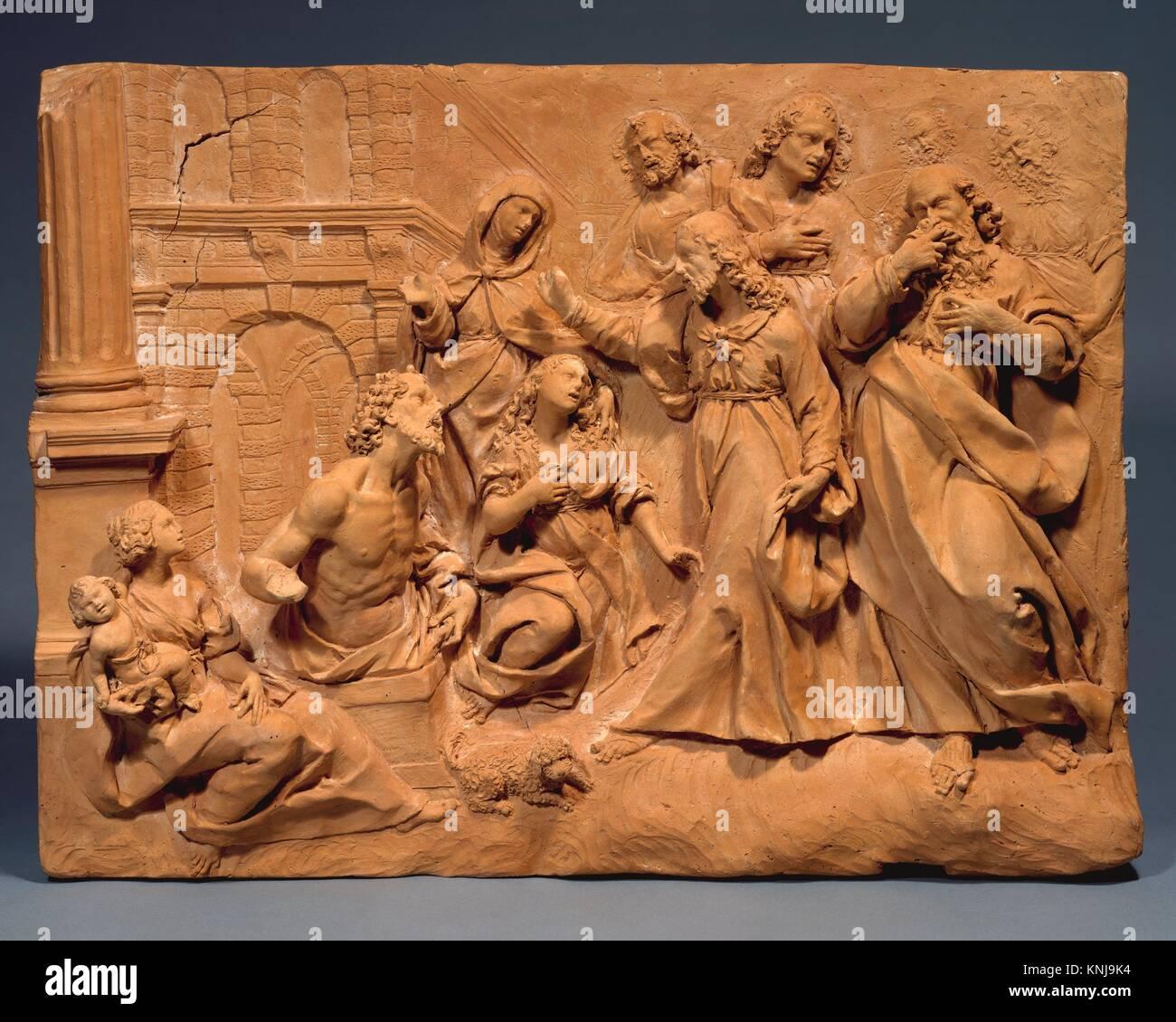 Die Auferweckung des Lazarus. Datum: Ca. 1620; Kultur: Wahrscheinlich Italienisch, Mailand; Medium: Terrakotta; Stockbild