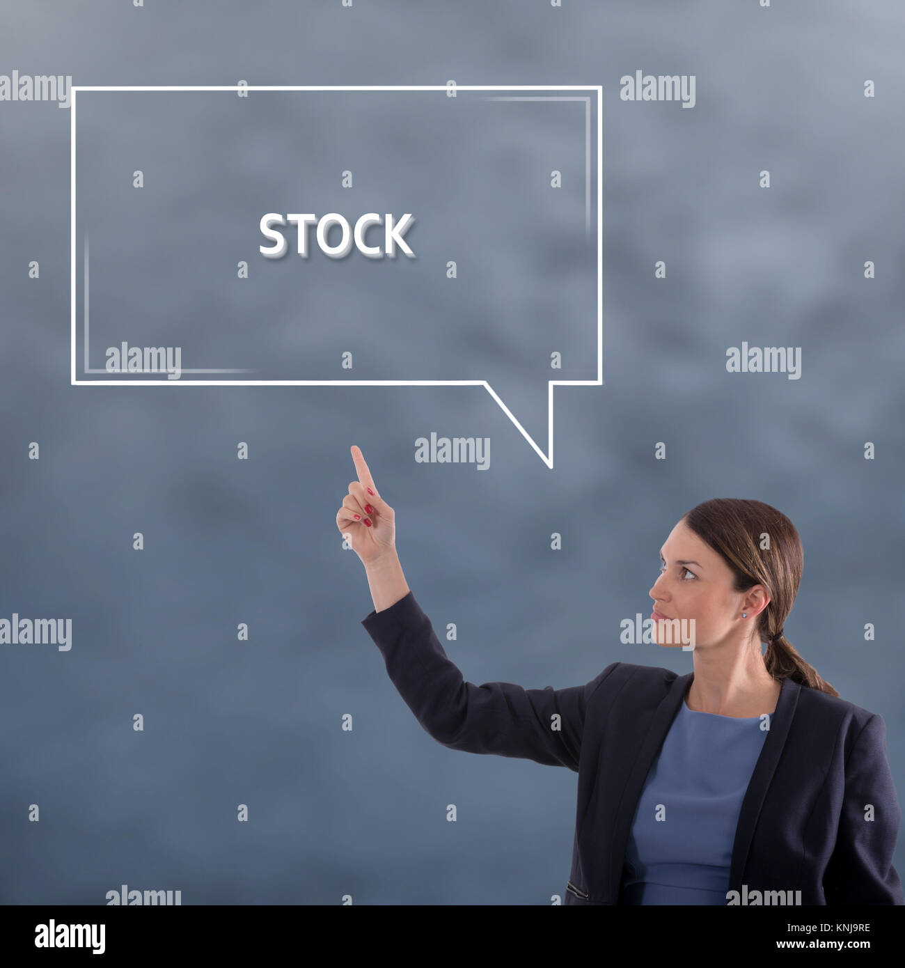 Lieferbar Business Konzept. Business Woman grafisches Konzept Stockbild