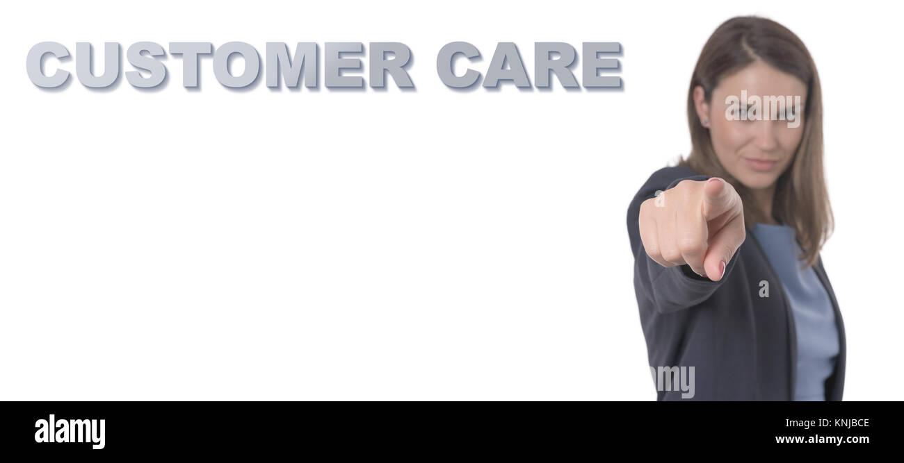 Business Frau zeigt den Text CUSTOMER CARE Business Konzept. Stockbild