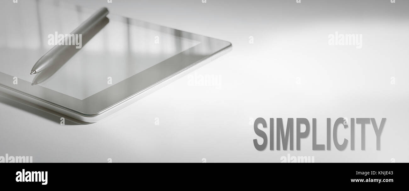Einfachheit ist das Konzept der digitalen Technologie. Grafisches Konzept. Stockbild