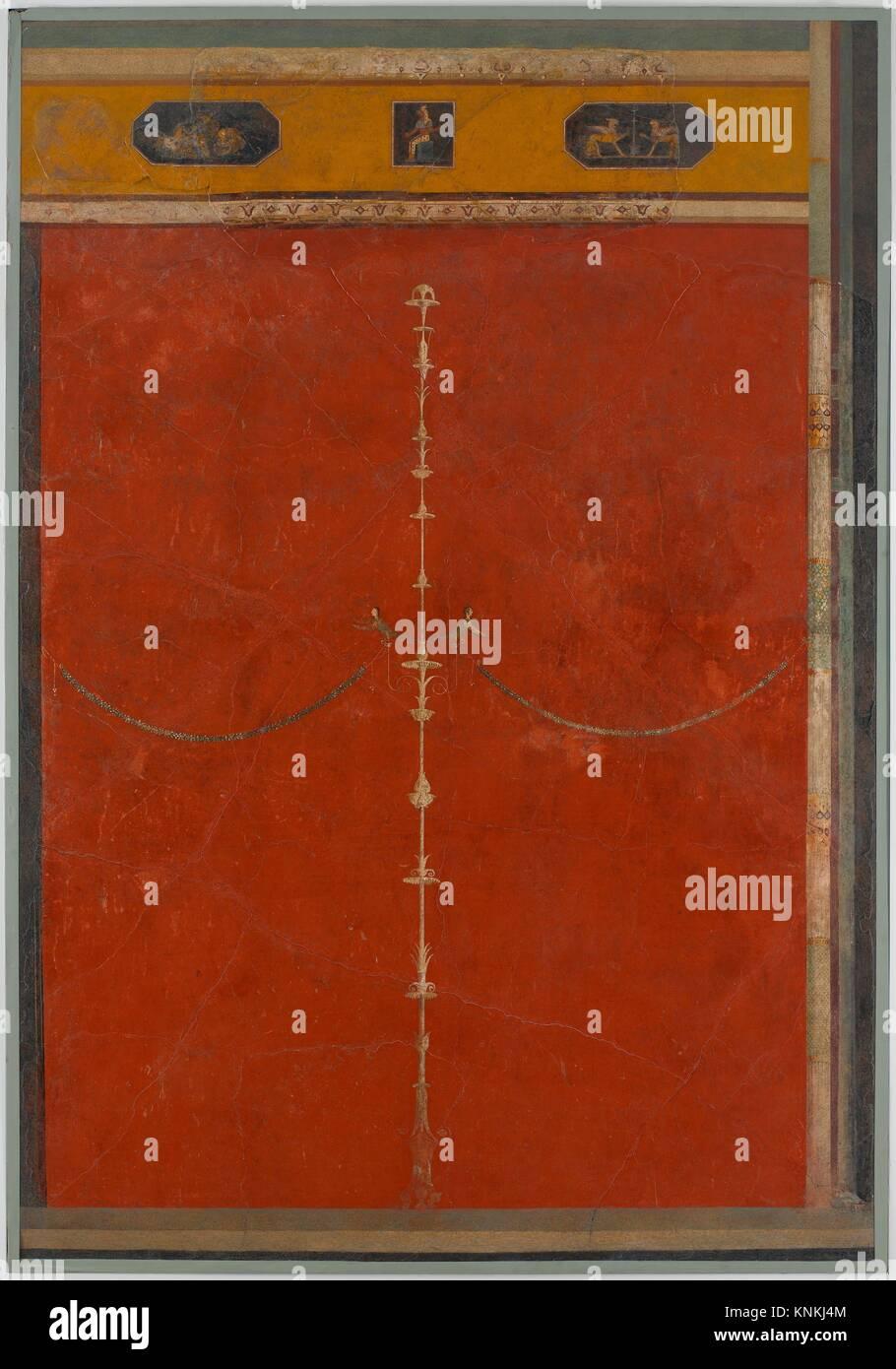 Wandmalerei rot: Armleuchter mit Frieze, von der kaiserlichen Villa at Boscotrecase. Zeitraum: AUGUSTEISCHEN; Datum: Stockbild