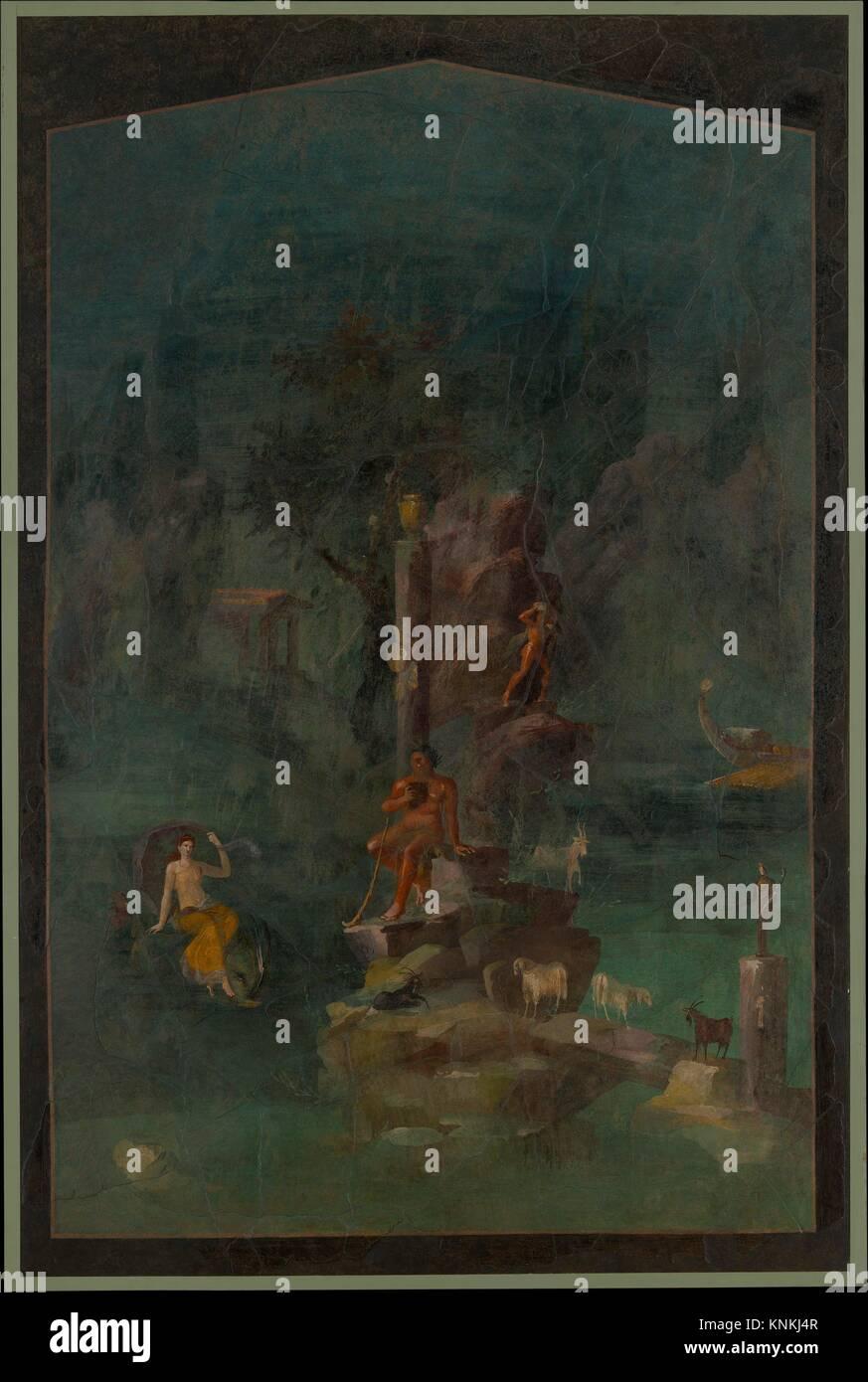Wandmalerei: Polyphemus und Galatea in einer Landschaft, die von der kaiserlichen Villa at Boscotrecase. Zeitraum: Stockbild