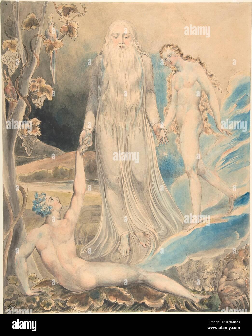 Engel der göttlichen Gegenwart, Eva zu Adam (die Schaffung von Eve: Und man wird) (recto); Skizze für Stockbild