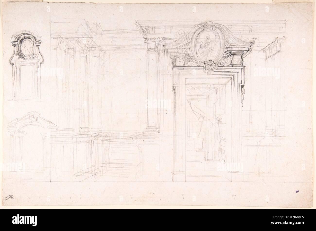 Architektonische Skizze für die Gestaltung einer Wand mit Tür, mit ...