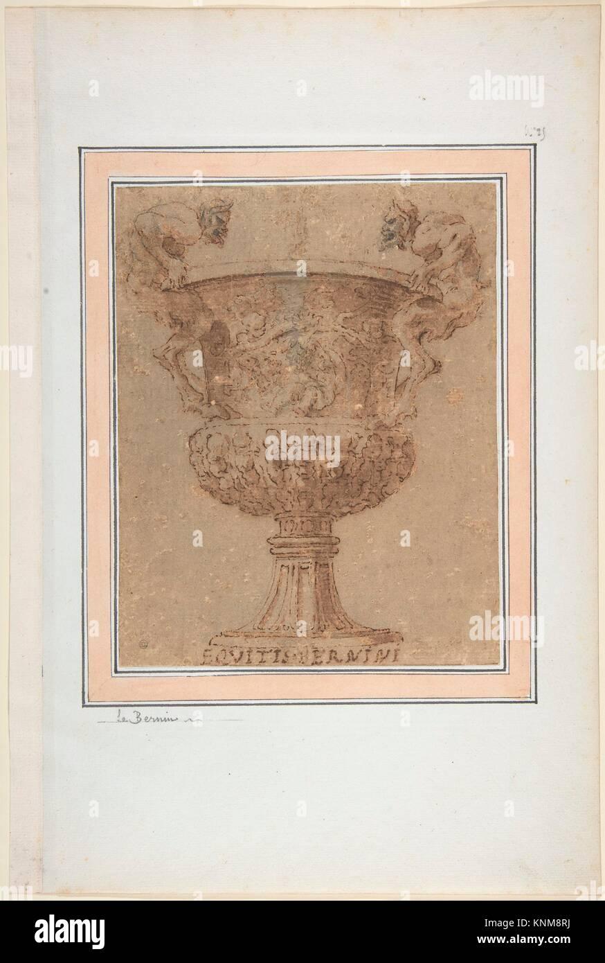 Design für eine Urne mit Satyrn für Griffe. Artist: Anonyme, italienisch, 17. Jahrhundert; Datum: 17. Stockbild