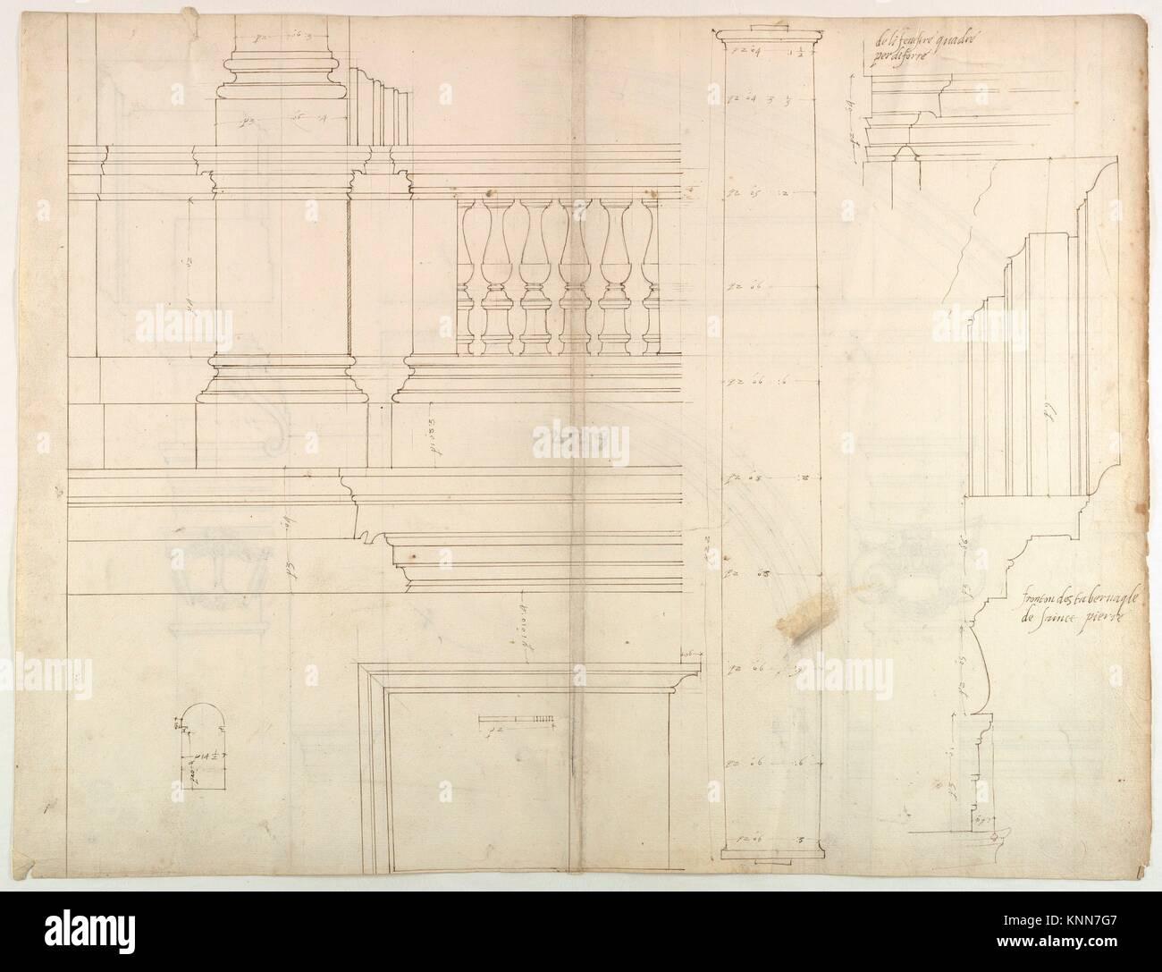 St. Peter's, Außen, Wohnung, Höhe und Abschnitt an der Basis mit Details der Sockel und Geländer, Stockbild