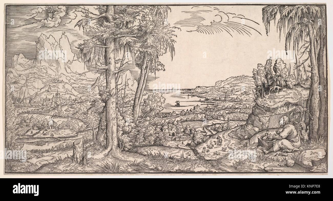 Landschaft mit dem Hl. Johannes der Evangelist. Artist: Virgil Solis (Deutsch, (?) 1514-1562 Nürnberg); Datum: Stockbild