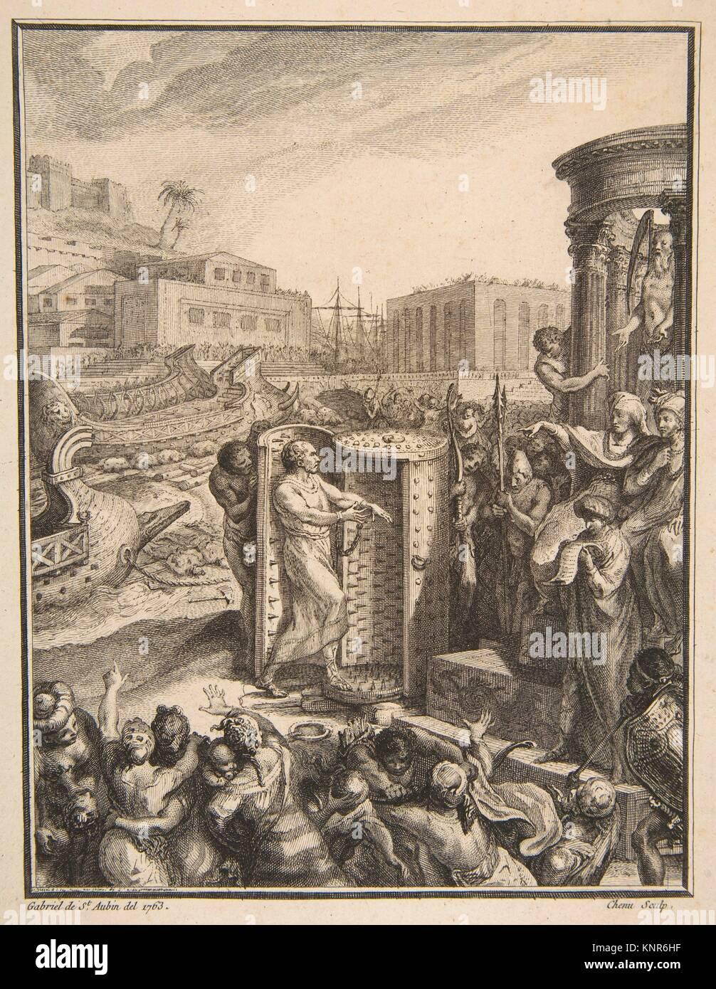 Regulus an die schreckliche Folter verurteilt. Artist: Nach Gabriel de Saint-Aubin (Französisch, Paris 1724 Stockbild
