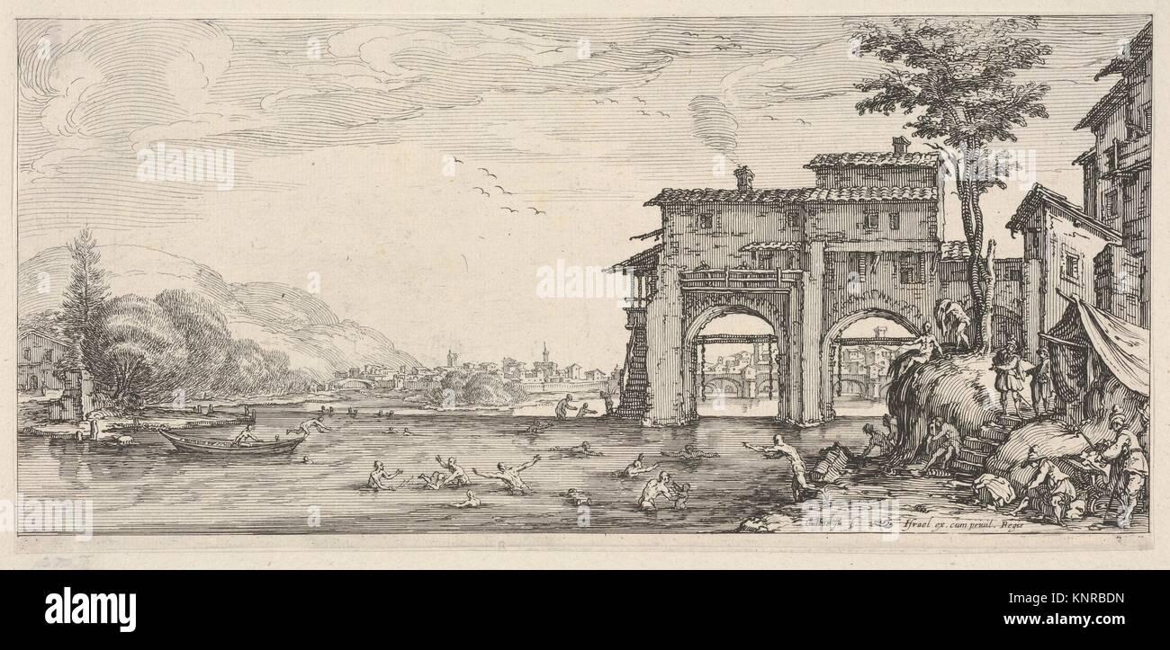 Ansicht der Badegäste und ein großes Gebäude auf der rechten Seite, von italienischen Landschaften Stockbild