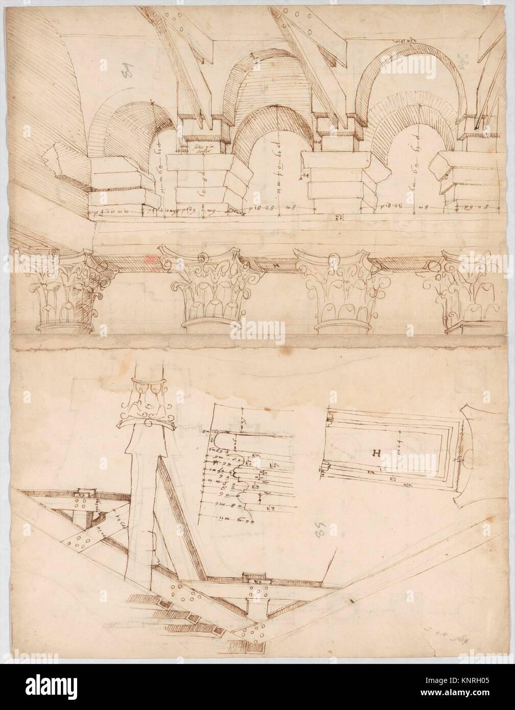 Pantheon, Portikus, Plan (recto) Pantheon, Portikus, Details und Perspektive (verso). Serie/Portfolio: Goldschmidt Stockbild