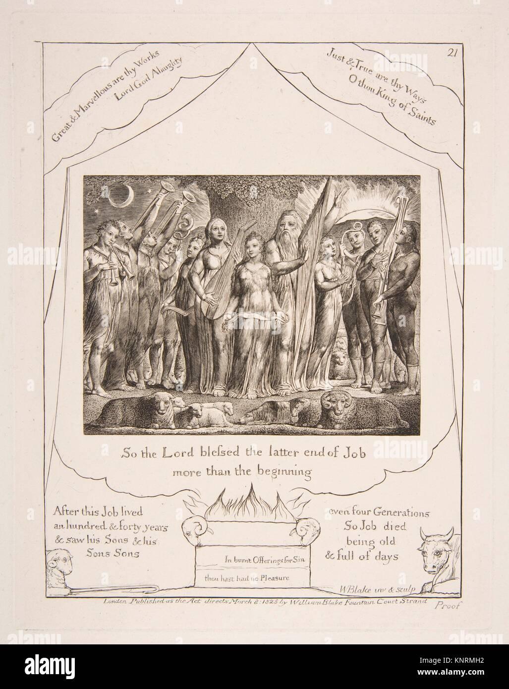 Job und seine Frau wieder zu Wohlstand, von Abbildungen des Buches Ijob. Künstler: William Blake (Briten, London Stockbild