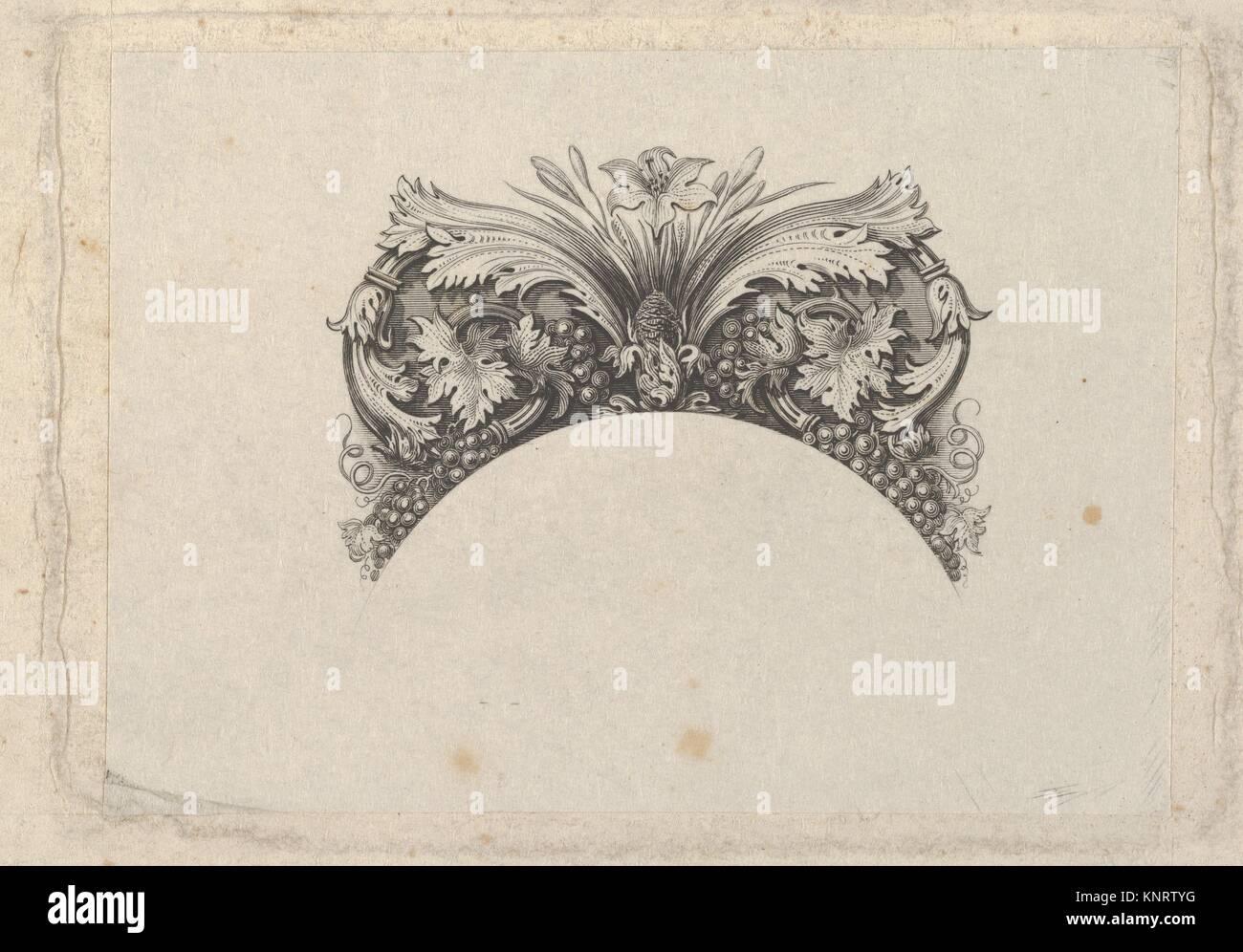 Gewölbte framing Element für Banknote, mit Akanthus und Weinblätter ...