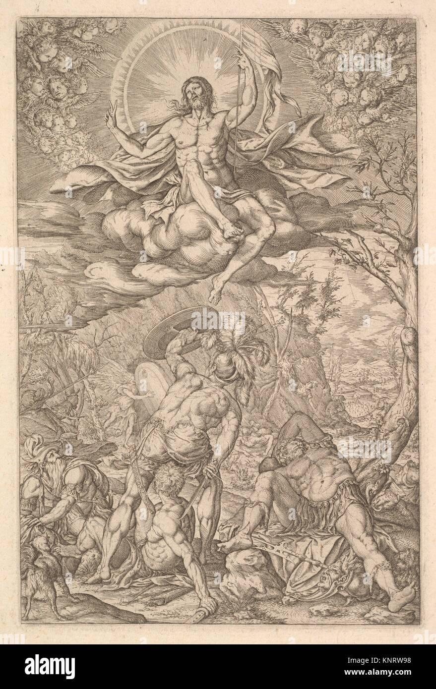 Die Auferstehung Christi, durch eine Aureole und Wolken mit Linien der geflügelte Putten zu beiden Seiten, Stockbild