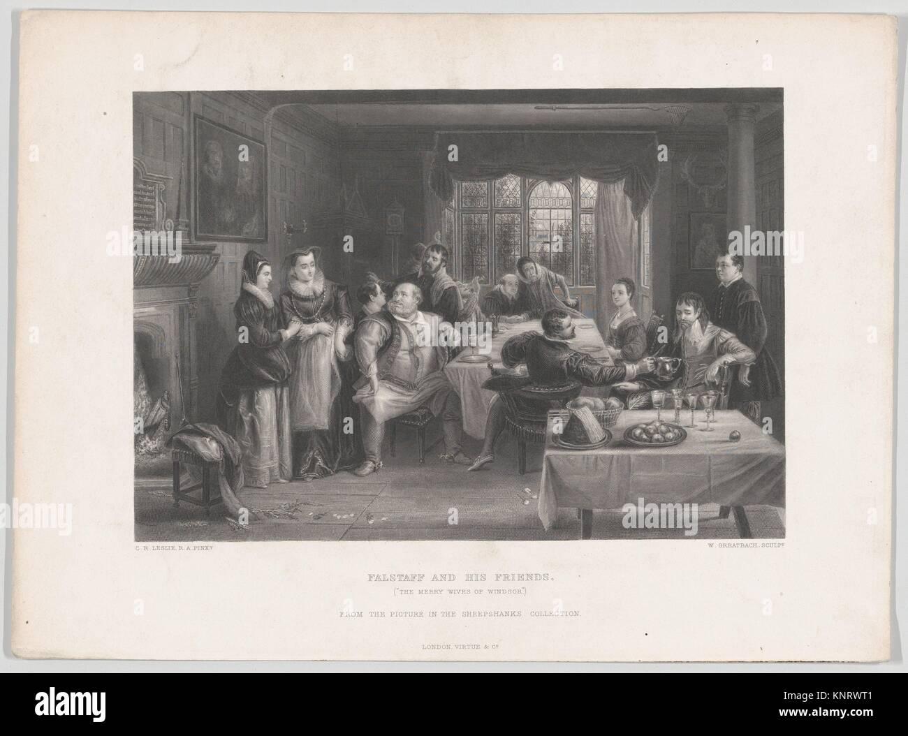 Falstaff und seine Freunde (Die lustigen Weiber von Windsor). Engraver: William Greatbach (Briten, Stoke-on-Trent Stockbild