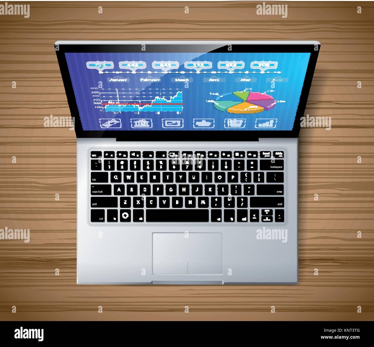 Laptop Konzept - Ansicht von Oben - Lager Abbildung Stockbild