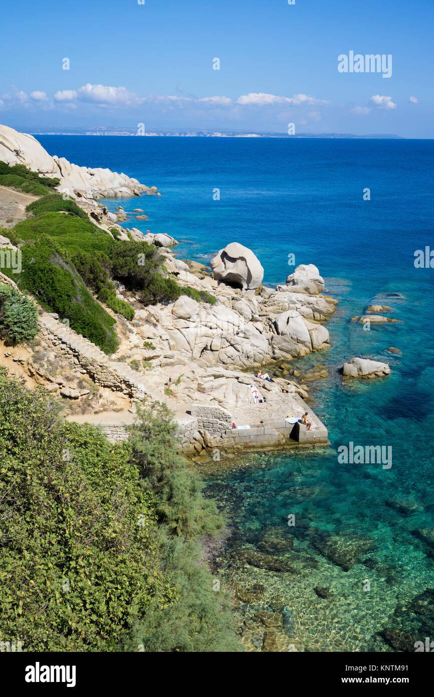 Idyllischen Küste Landschaft am Capo Testa, Santa Teresa di Gallura, Sardinien, Italien, Mittelmeer, Europa Stockbild
