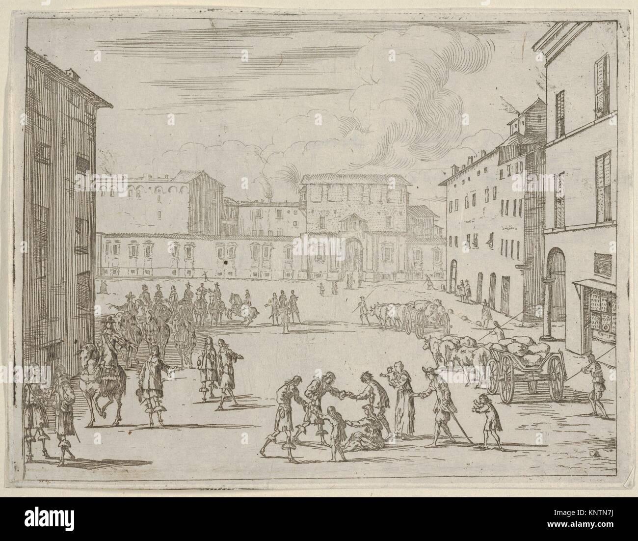 Francesco I d'während der großen Hungersnot von 1648 und 1649 Este unterstützt seine Untertanen Stockbild