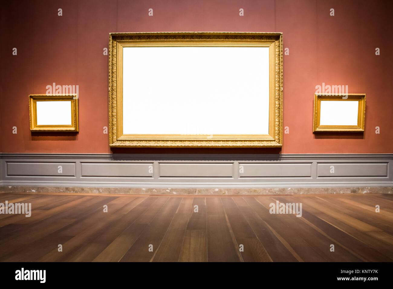 Drei verzierten Bilderrahmen Art Gallery Museum Ausstellung leere ...