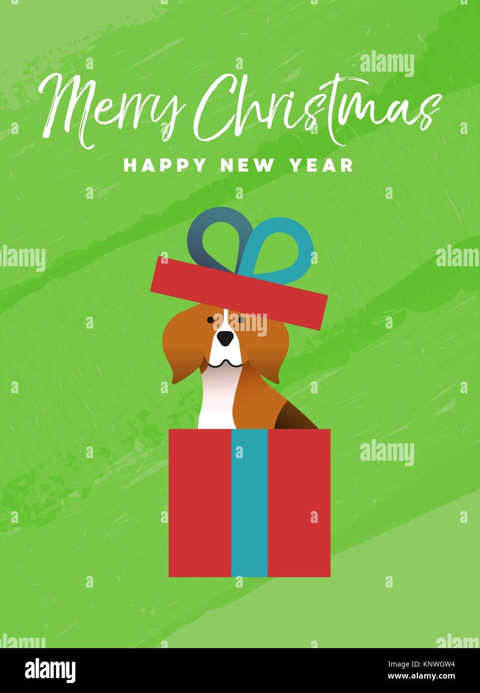 Erstaunlich Lustige Geschenkverpackung Beste Wahl Frohe-weihnachten-und-ein-gluckliches-neues-jahr-urlaub-skarte-abbildung- Lustige-beagle-hund-innen-xmas-geschenkverpackung-auf-bunten-textur-hintergrund
