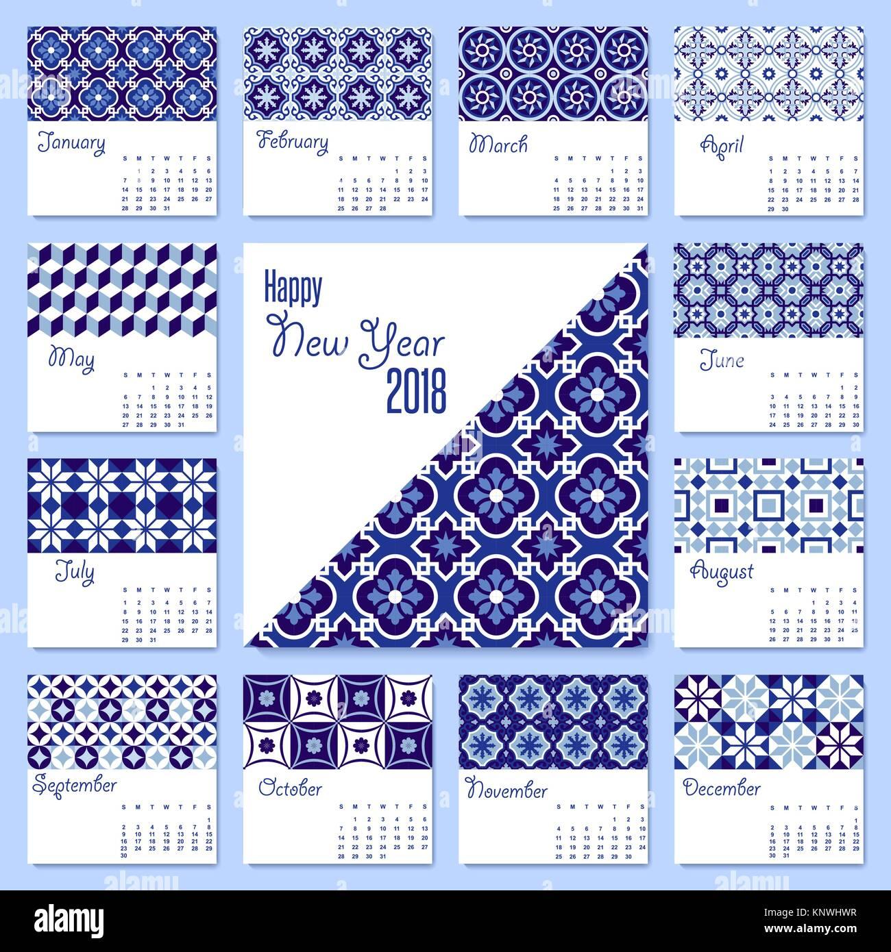 Neues Jahr 2018 Kalender Vorlage mit Arabisch traditionellen blau ...