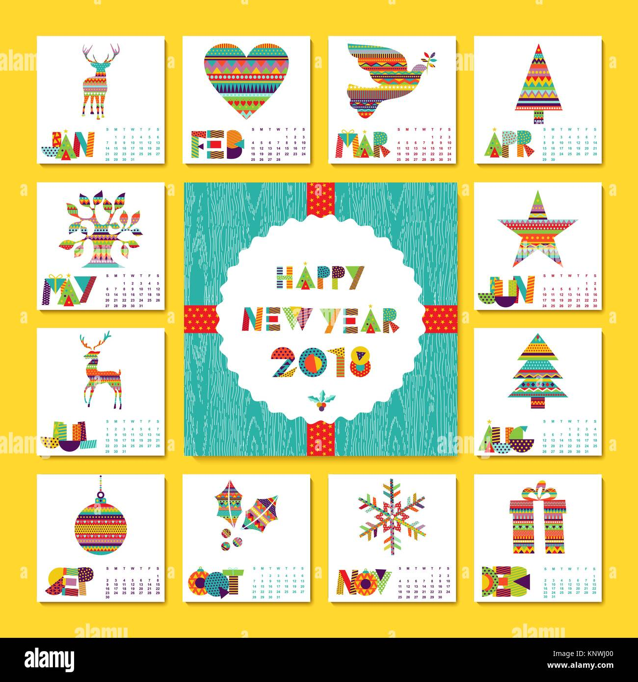 Frohes Neues Jahr 2018 Urlaub Kalender Vorlage Mit Weihnachten