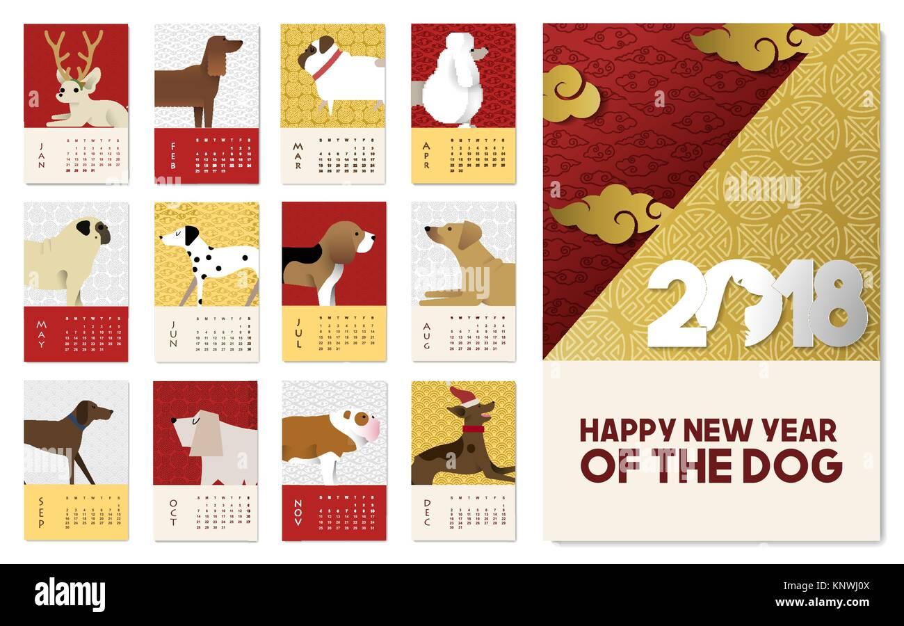 Frohes chinesisches neues Jahr des Hundes 2018 urlaub Welpen ...